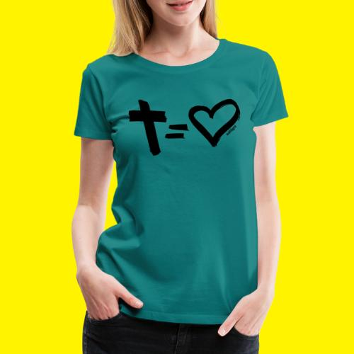 Cross = Heart BLACK - Women's Premium T-Shirt