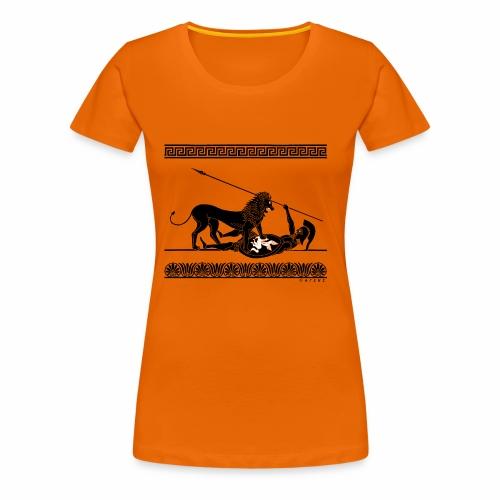 Hoplit und Löwe (schwarz auf rot) - Frauen Premium T-Shirt
