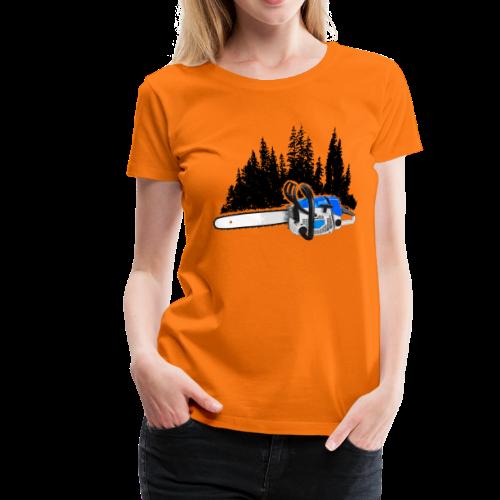 Dein Forstbetrieb - Motorsäge & Wald (Blau) - Frauen Premium T-Shirt