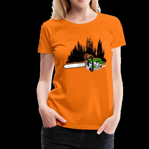 Dein Forstbetrieb - Motorsäge & Wald (Grün) - Frauen Premium T-Shirt