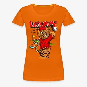 lets Play - Tiger golfing - Women's Premium T-Shirt