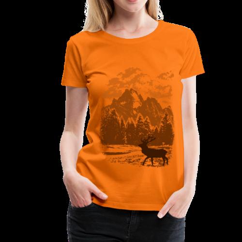 Bergwald und Rothirsch (Orange) - Frauen Premium T-Shirt