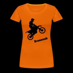 Motorrad im Wheelie - Frauen Premium T-Shirt