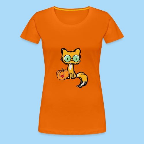 Katze Kürbis Halloween Herbst Orange - Frauen Premium T-Shirt