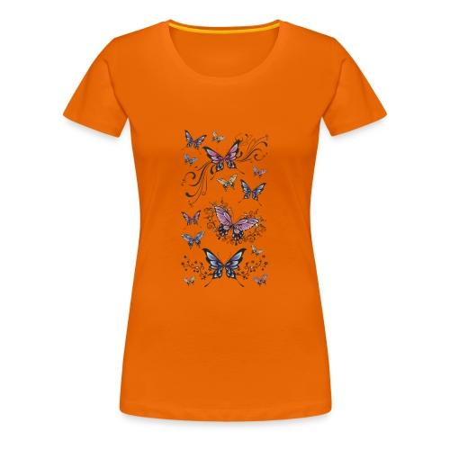 Tattoo de mariposas lilas y rosas - Camiseta premium mujer