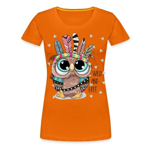 Eule - Wild and Free - Frauen Premium T-Shirt