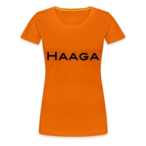 Haaga mustalla tekstillä ja isoilla kirjaimilla - Naisten premium t-paita