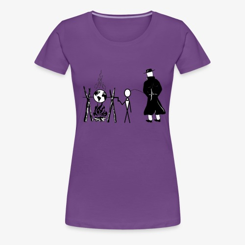 Pissing Man against human self-destruction - Frauen Premium T-Shirt