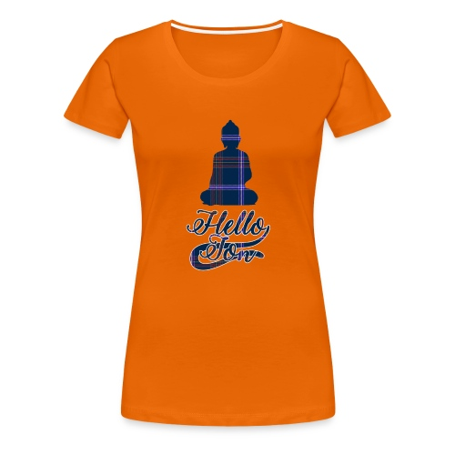 Hello Jon Purple Tartan Buddha - Women's Premium T-Shirt