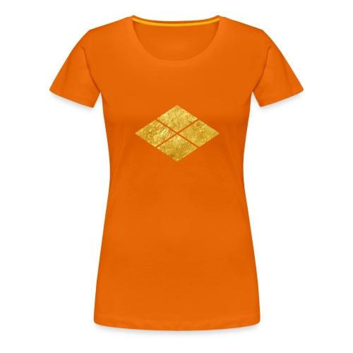 Takeda kamon Japanese samurai clan faux gold - Women's Premium T-Shirt