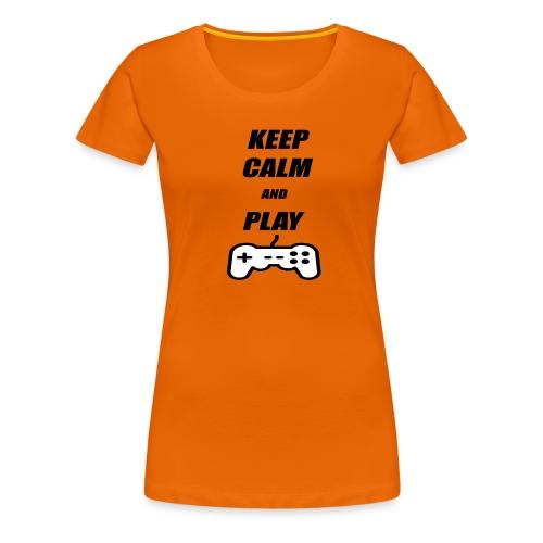 Maglietta Keep Calm And Play bianca. - Maglietta Premium da donna
