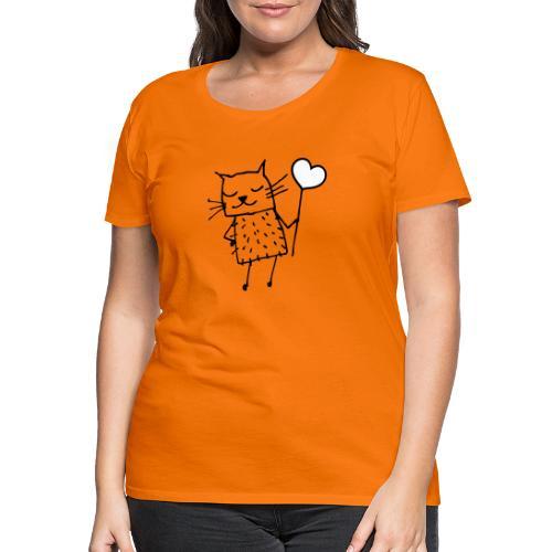 Katze mit Herz: Liebe - Frauen Premium T-Shirt