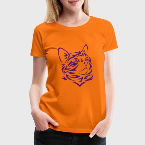Chat Tribal Tattoo - T-shirt Premium Femme