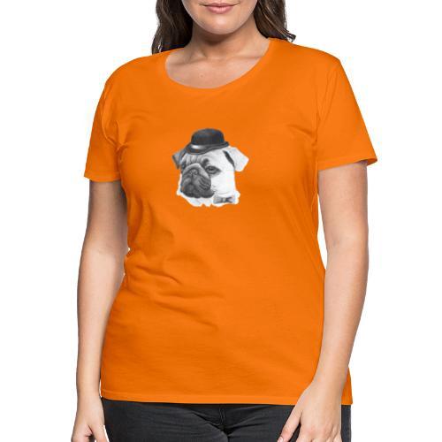 pug with bowler - Dame premium T-shirt