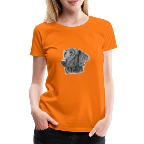 flatcoated retriever bw - Dame premium T-shirt