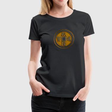 Lucky kinesiska mynt, Feng Shui, rikedom, finans - Premium-T-shirt dam
