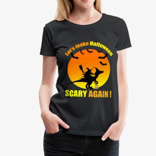 Witch raiding Dinosaure on Halloween - T-shirt Premium Femme