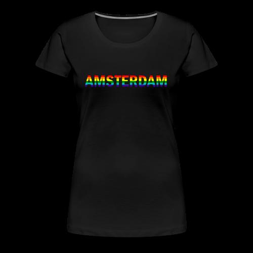 Amsterdam in gay pride rainbow kleuren - Vrouwen Premium T-shirt