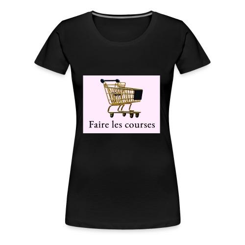 Edler goldener Einkaufswagen mit Schriftzug - Frauen Premium T-Shirt