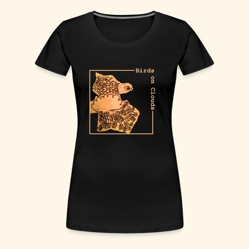 Birds on Clouds fågel med ram - Premium-T-shirt dam
