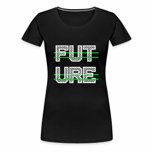 Future Clothing - Green Strips (White Text) - Women's Premium T-Shirt