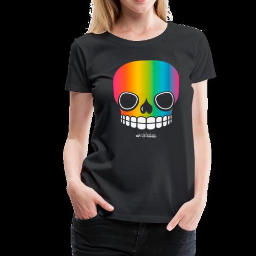 JUST SKULL rainbow - Naisten premium t-paita