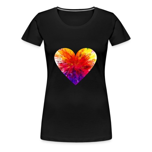 Valentines Day Tee Shirt - Coloured Rainbow Heart - Women's Premium T-Shirt