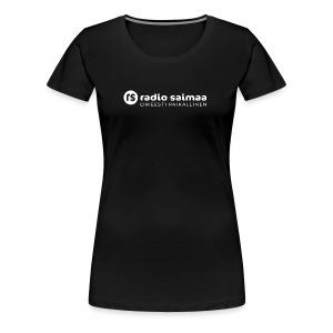 Radio Saimaa logo sloganilla valkoinen - Naisten premium t-paita