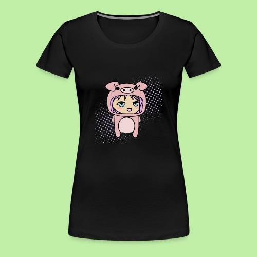 Super kawaii anime kid in piglet outfit - Women's Premium T-Shirt