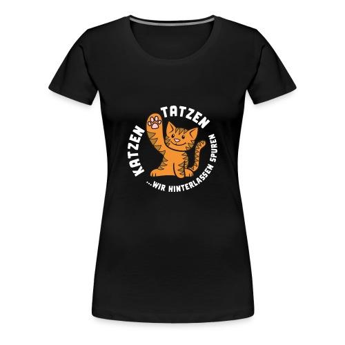 Katzentatzen Logo auf schwarz - Frauen Premium T-Shirt