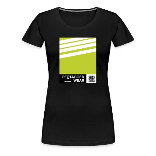 Women Stripes Pantone Trend S/S 18 Lime Punch - Frauen Premium T-Shirt