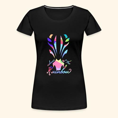 Zebra Regenbogen Bunt Farben Rainbow Colours - Frauen Premium T-Shirt