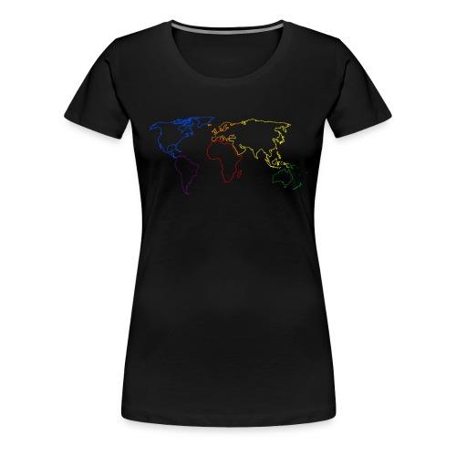 Rainbow Map of the World - Women's Premium T-Shirt