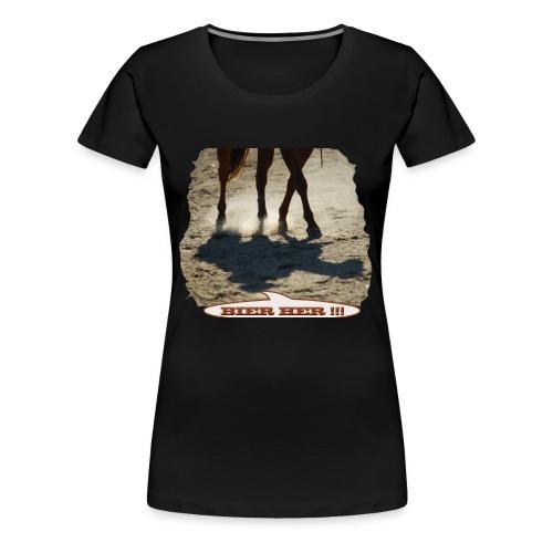 Pferd Schatten Bier her - Frauen Premium T-Shirt