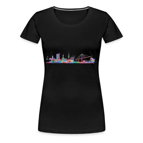 Hamburg Skyline gemalt in Acyl, Maxipike - Frauen Premium T-Shirt
