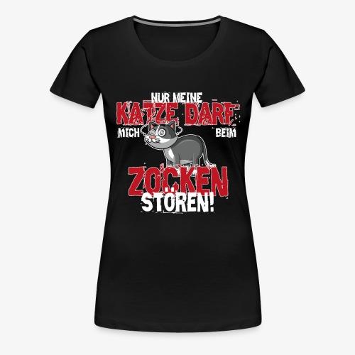 Gamer T-Shirt Katze zocken Gaming - Frauen Premium T-Shirt