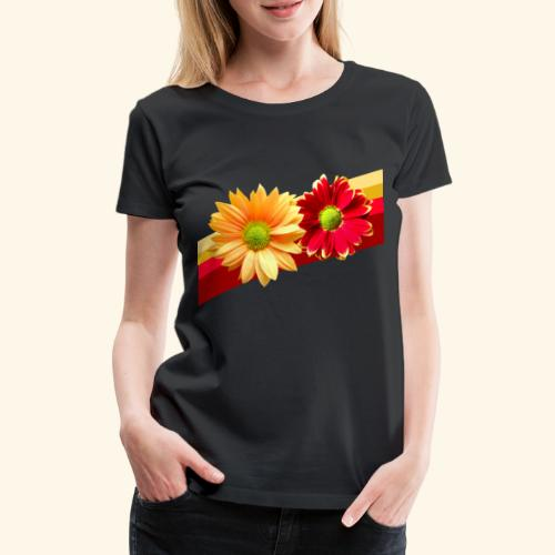 Blumen in den Farben rot und gelb, Blüten, floral - Frauen Premium T-Shirt