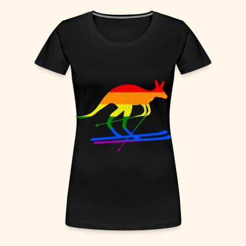Skifahrer Känguru Ski Wintersport Regenbogenfahne - Frauen Premium T-Shirt