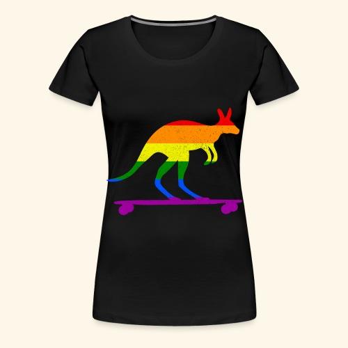 Skater Känguru Longboard Skateboard Regenbogenfahn - Frauen Premium T-Shirt