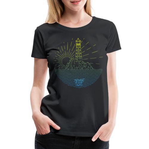 Leuchtturm mit Sonne am Meer - Frauen Premium T-Shirt