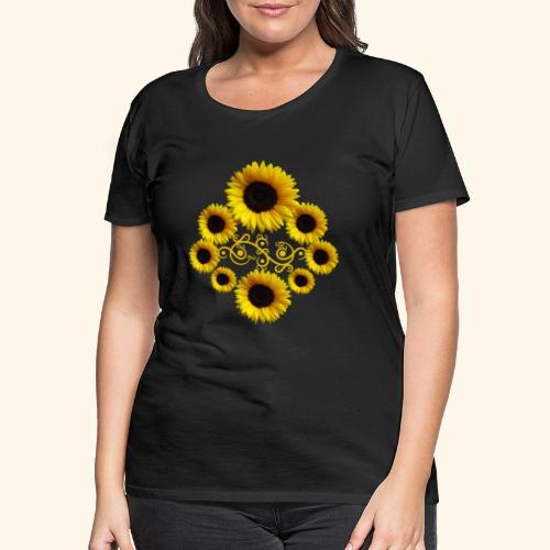 Sonnenblumen mit Ornament, Sonnenblume, Blumen - Frauen Premium T-Shirt