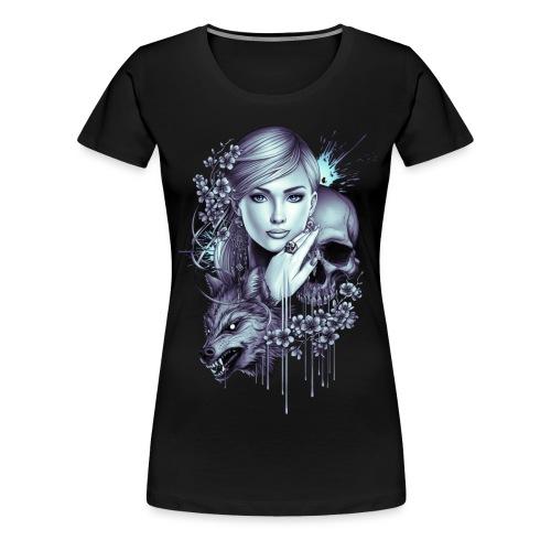 Wolf Skull Girl Tattoo - Women's Premium T-Shirt