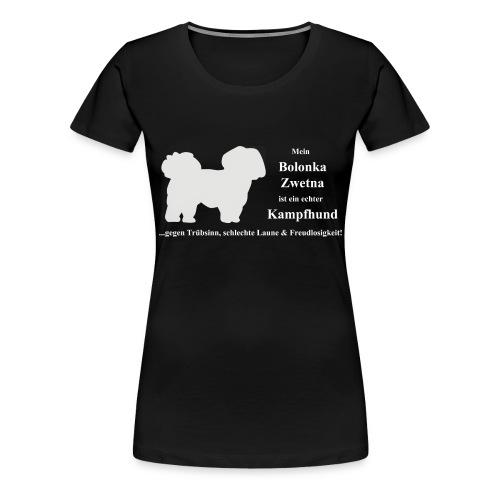 Bolonka Zwetna mit weißer Schrift - Frauen Premium T-Shirt