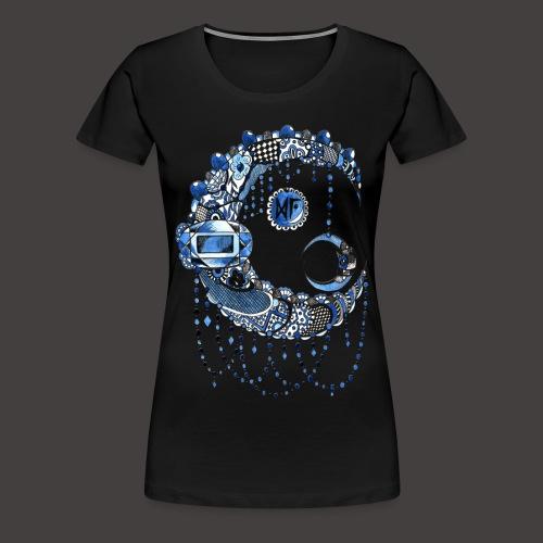 Lune dentelle bleue fonce - T-shirt Premium Femme
