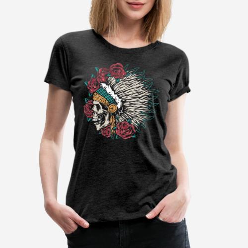 indian skull roses - Frauen Premium T-Shirt