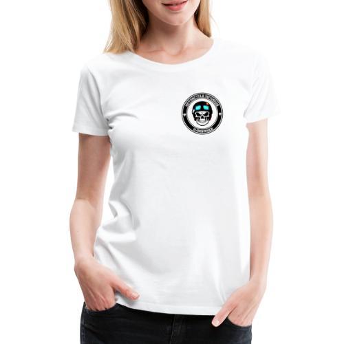 calavera con casco de moto impresa en playera - Camiseta premium mujer