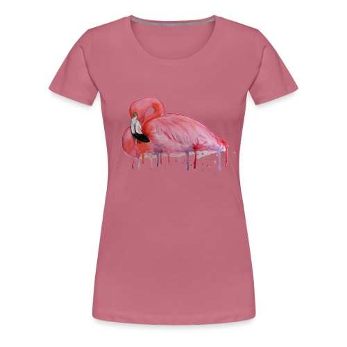 Pink Flamingo Watercolors Nadia Luongo - Maglietta Premium da donna