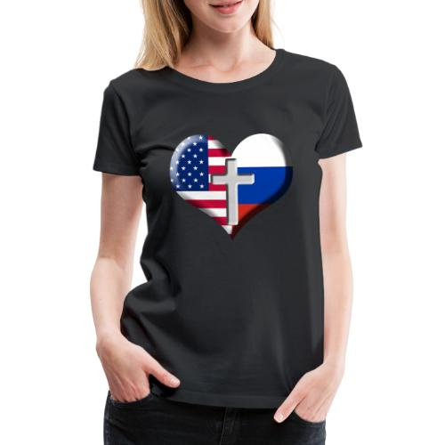 USA and Russia Heart with Cross - Women's Premium T-Shirt