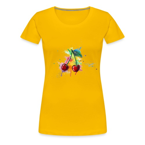 Cherries Watercolors Nadia Luongo - Maglietta Premium da donna