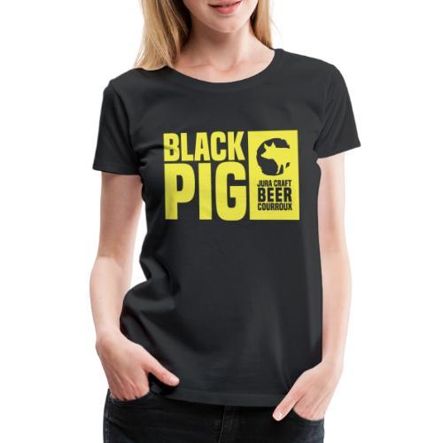 BlackPig Horizontal Jaune - T-shirt Premium Femme